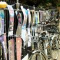 Church railings in Cambridge with posters and bicycles