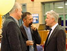 Mark Hodgeson (Architect), Mark Pengelley and  Geoffrey Clarke talk before the meal